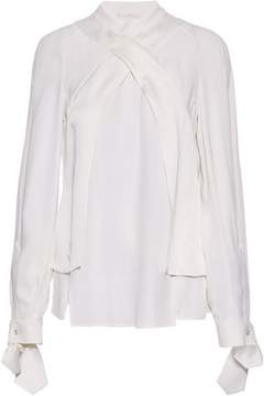 Antonio Berardi Wrap-Effect Satin-Trimmed Crepe Blouse