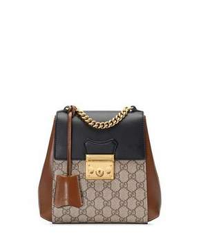 Gucci Padlock GG Supreme Canvas Backpack - BLACK/BROWN - STYLE