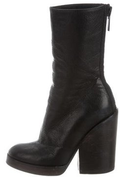 Haider Ackermann Leather Round-Toe Ankle Boots