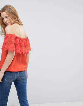 Brave Soul Linda Crochet Bardot Top