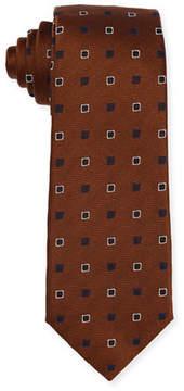 Isaia Diamond-Box Silk-Cotton Tie