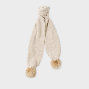 Paul Smith Women's Beige Lambswool Scarf With Faux Fur Bobbles
