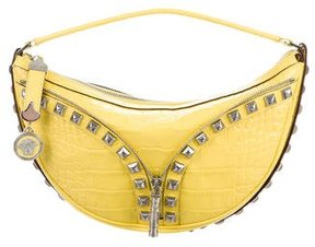Versace Studded Embossed Leather Hobo