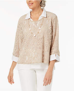 Alfred Dunner Petite Scottsdale Collection Layered-Look Necklace Top