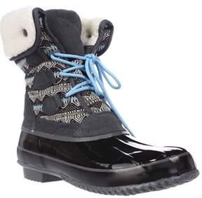 Khombu Jenna Fleece Lined Mid Calf Winter Boots, Grey/black.