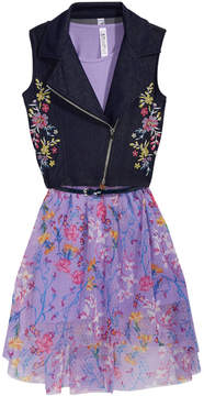 Beautees 2-Pc. Embroidered Moto Vest & Floral-Print Dress Set, Big Girls