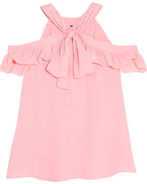 Moschino Cold-shoulder Ruffled Crepe Top - Pink