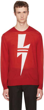 Neil Barrett Red Double Stripe Thunderbolt Sweater