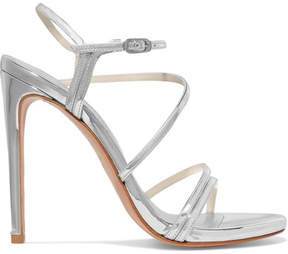 Stuart Weitzman Follie Metallic Patent-leather Sandals - Silver