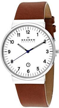 Skagen Ancher Collection SKW6082 Men's Leather Strap Watch