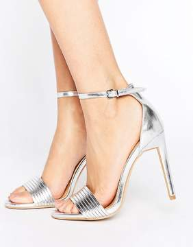 Public Desire Lily Silver Barely There Heeled Sandals