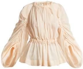 Fendi Ruched cotton-voile top