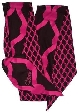 Diane Von Furstenberg Fuchsia & Brown Print Silk Headscarf
