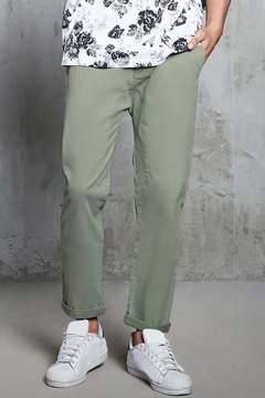 21men 21 MEN Twill Woven Cropped Pants