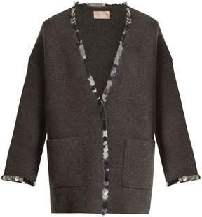 Christopher Kane Sequin-embellished V-neck wool-blend knit cardigan