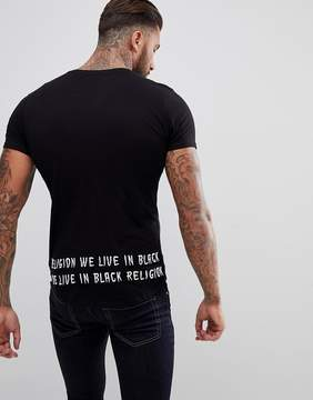 Religion T-Shirt with Curved Hem And Embroidered Back