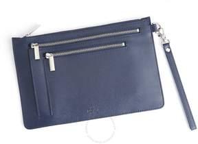 Royce Leather Royce Blue Saffiano Leather RFID Blocking Cross Body Bag