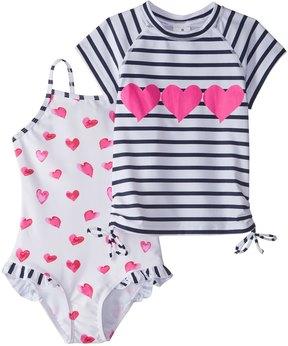 Snapper Rock Girls' Watercolor Hearts Swimsuit & Rashguard Set (2T10) - 8155089