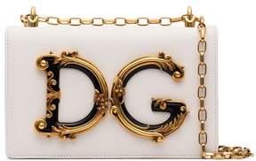 Dolce & Gabbana White Baroque logo shoulder bag