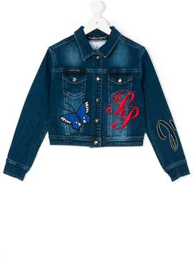 Philipp Plein Junior logo embroidered denim jacket