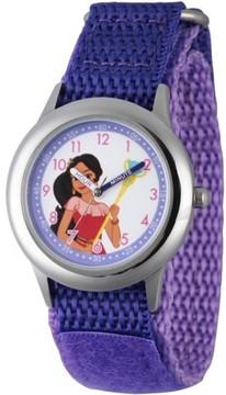 Disney Elena of Avalor, Elena Girls' Stainless Steel Time Teacher Watch, Purple Hook and Loop Nylon Strap