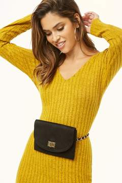 Forever 21 Chain-Strap Faux Suede Belt Bag