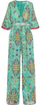 Matthew Williamson Inca Jewel Silk-chiffon Jumpsuit - Teal