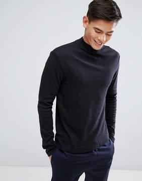 Kiomi High Neck Long Sleeve T-Shirt In Black