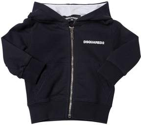 DSQUARED2 Logo Detail Zip-Up Cotton Sweatshirt