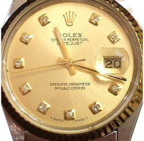 Rolex Two-Tone 18K Yellow Gold & Stainless Steel Datejust Champagne Diamond Mens Watch