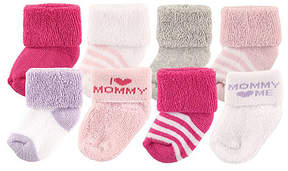 Luvable Friends Pink & White 'I Love Mommy' Eight-Pair Sock Set - Infant