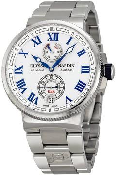 Ulysse Nardin Marine Chronometer White Dial Stainless Steel Men's Watch 1183-126-7M-40
