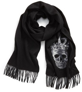John Varvatos Men's Skull Wool Scarf