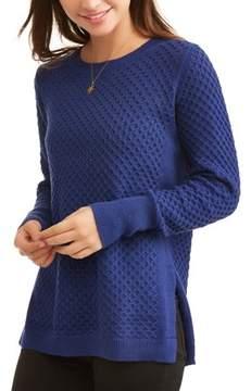 Caribbean Joe Women's Long Sleeve Waffle Stitch Sweater