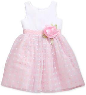 Sweet Heart Rose Little Girls Glitter-Dot Mesh Dress