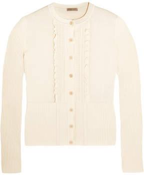 Bottega Veneta Ruffled Cotton-blend Cardigan - Ivory