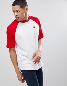 Converse Raglan Logo T-Shirt In White 10006477-A04