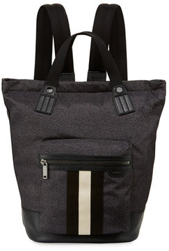 Bally Crowley Nylon Tote-Backpack with Stripe, Black