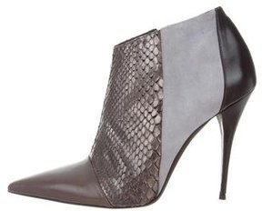 Narciso Rodriguez Snakeskin-Trimmed Pointed-Toe Booties