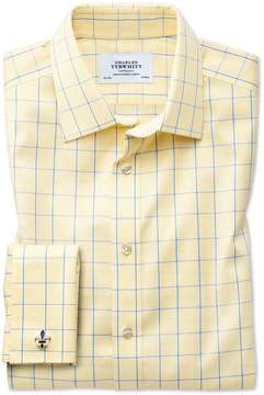 Charles Tyrwhitt Extra Slim Fit Non-Iron Prince Of Wales Yellow and Royal Blue Cotton Dress Shirt French Cuff Size 14.5/32