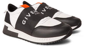Givenchy Active Elasticated-Strap Leather-Trimmed Mesh Sneakers