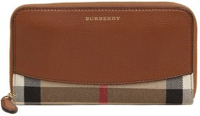 Burberry Leather & House Check Zip Around Wallet - TAN - STYLE