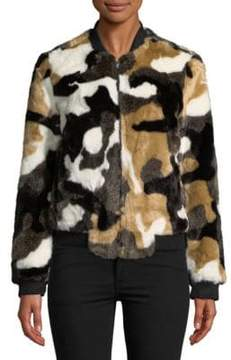 Bagatelle Faux Fur Camouflage Bomber Jacket
