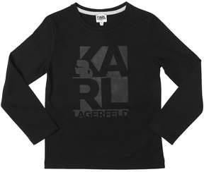 Karl Lagerfeld Logo Print Cotton Jersey T-Shirt