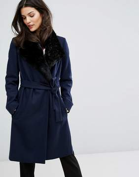 French Connection Platform Faux Fur Collar Wool Mix Coat