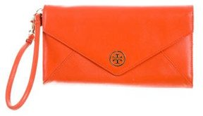 Tory Burch Leather Flap Wristlet - ORANGE - STYLE