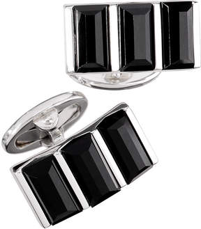 Jan Leslie Silver Three-Section Cuff Links w/ Onyx