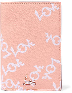 Christian Louboutin Loubipass Printed Textured-leather Passport Cover - Antique rose