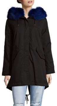 1 Madison Fur Trim Hooded Coat