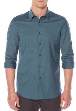 Perry Ellis Pinstripe Cotton Casual Button-Down Shirt